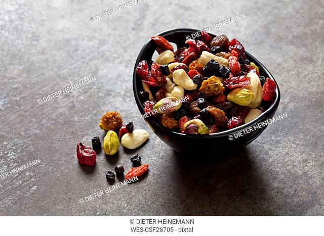 Bowl of dried fruits, pistachios, cashew nuts and almonds