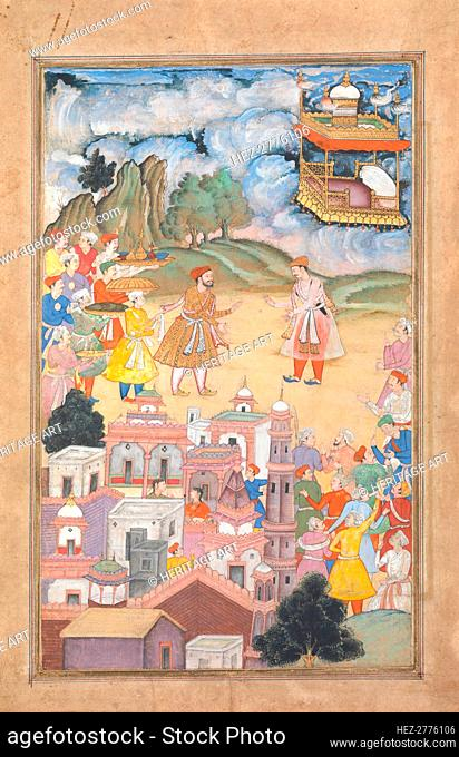King Sal Visits Kala Yavana, Folio from a Harivamsa (Legend of Hari (Krishna)), ca. 1590-95. Creator: Unknown