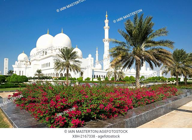 Exterior view of Sheikh Zayed Grand Mosque in Abu Dhabi United Arab Emirates