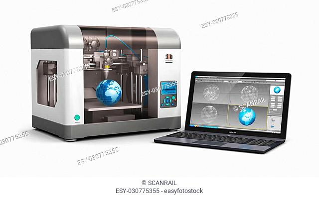 Creative 3D ABS plastic printing technology business concept: modern 3D printer and professional laptop PC or workstation notebook computer with 3D design...
