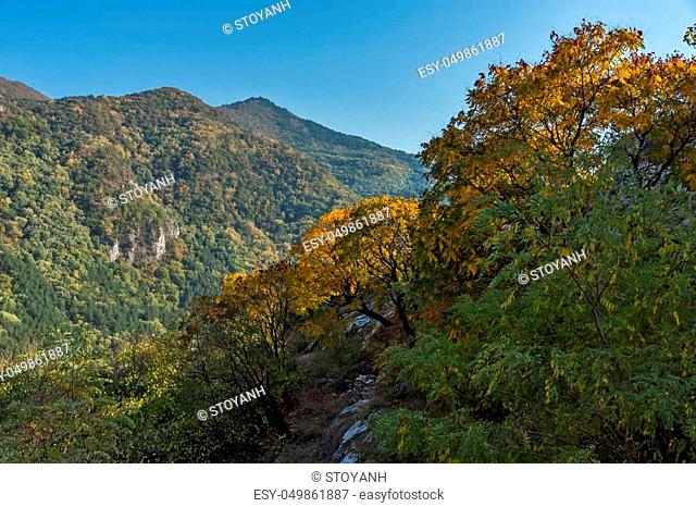 Amazing Autumn Landscape to Rhodopes mountain from Asen's Fortress, Plovdiv Region, Bulgaria