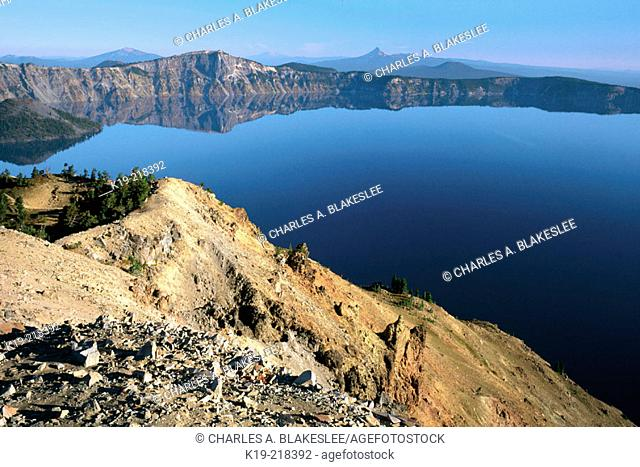 Mt. Bailey, Llao Rock , Diamond Peak and Mt. Thielsen (looking from summit of Garfield Peak). Crater Lake National Park. Oregon. USA