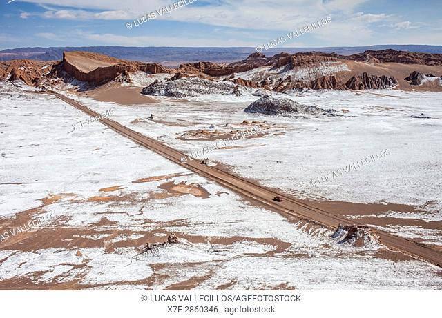 Valle de la Luna (Valley of the Moon) and salt deposited on the ground, Atacama desert. Region de Antofagasta. Chile