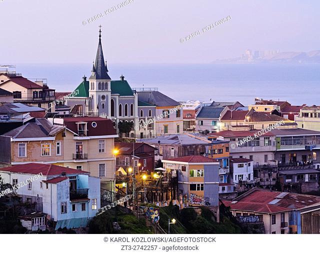 Chile, Valparaiso, Elevated view of the historic quarter Cerro Concepcion, declared as the UNESCO World Heritage Site