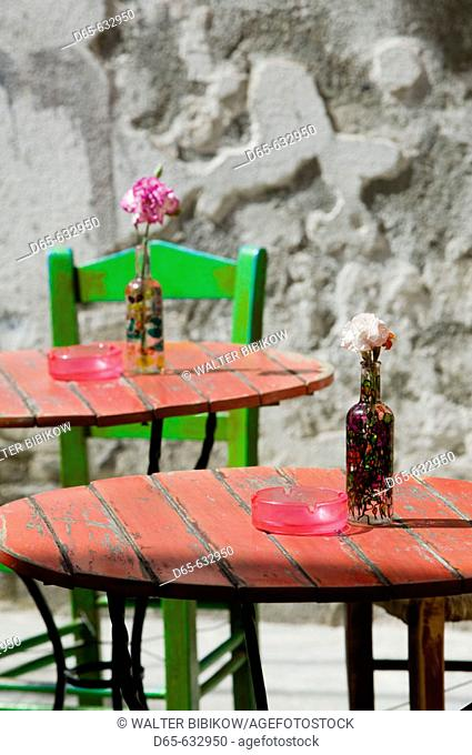 Colorful Cafe Table. Hania. Hania Province. Crete, Greece