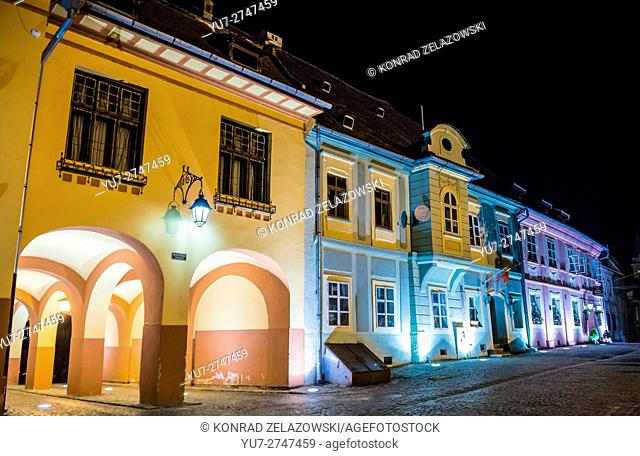Tenement houses at Citadel's Square in Historic Centre of Sighisoara city, Transylvania region in Romania