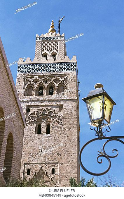 Morocco, Marrakesch, Jema El Fna, Koutoubia mosque, minaret, detail, Medina, Jemaa-El-Fna-Platz, buildings, construction, tower, architecture, sight, culture