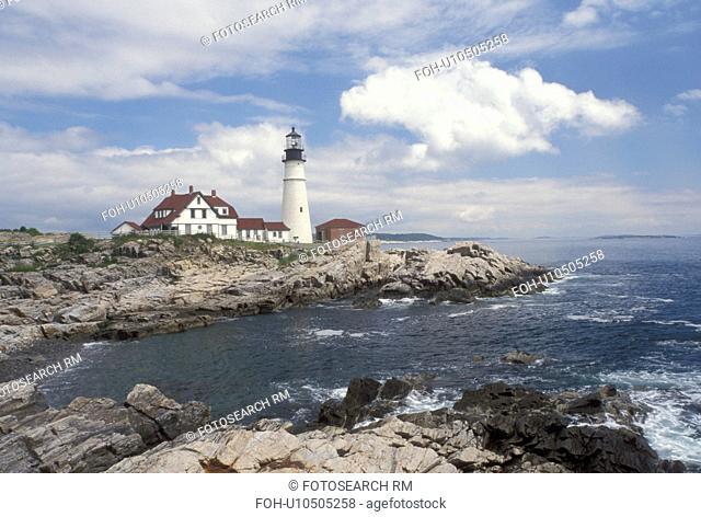 lighthouse, Cape Elizabeth, ME, Maine, Portland Headlight along the rocky coastline of the Atlantic Ocean