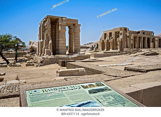 Ramesseum temple, funerary temple of Ramses II, Thebes, Luxor, Egypt
