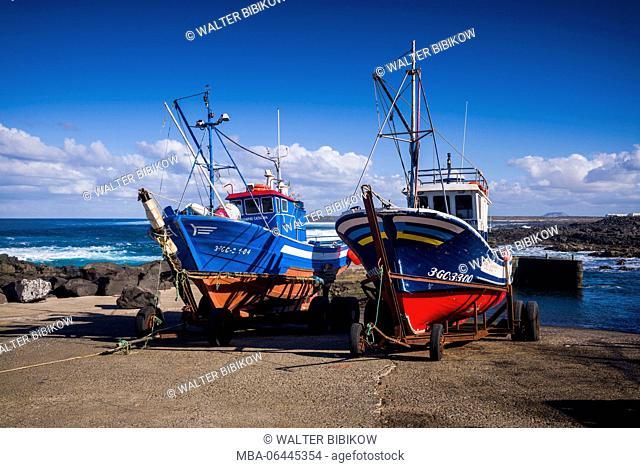 Spain, Canary Islands, Lanzarote, La Santa, fishing boats