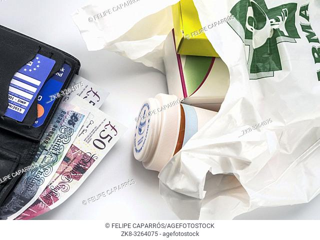 European health insurance card in a wallet along with several pounds sterling and medicines in a bag, concept of medical increase in the crisis of the brexit