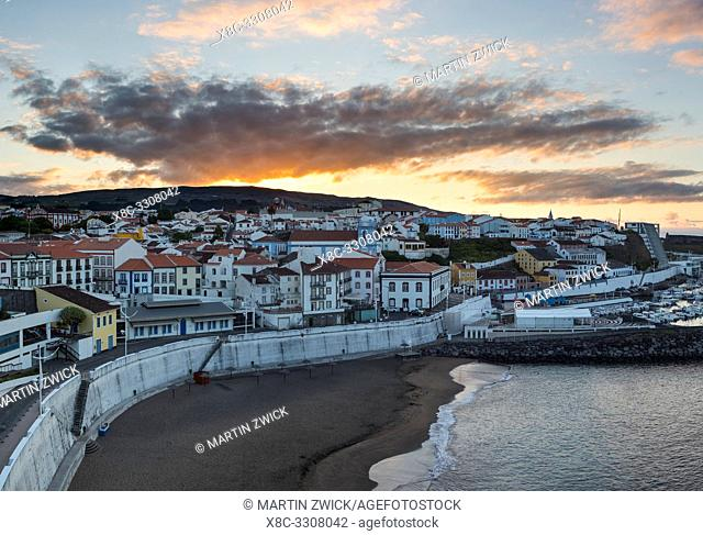 Cityscape. Capital Angra do Heroismo, the historic center is part of UNESCO world heritage. Island Ilhas Terceira, part of the Azores (Ilhas dos Acores) in the...