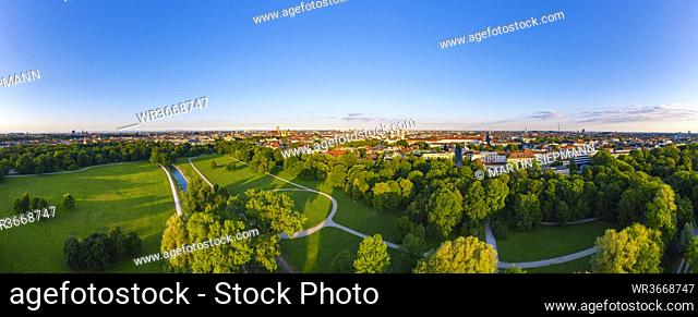 Germany, Bavaria, Munich, Aerial panorama of clear sky over English Garden at dawn