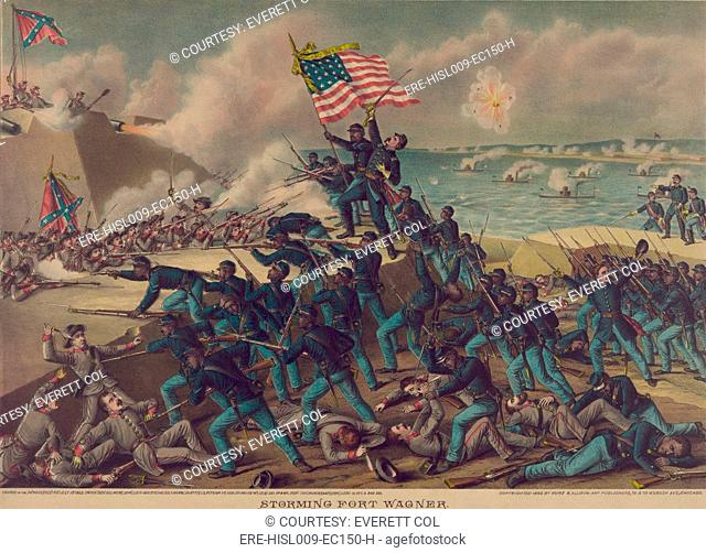 54th Massachusetts Volunteer Infantry, an African American infantry in the Union Army, assaulting Fort Wagner on July 18, 1863
