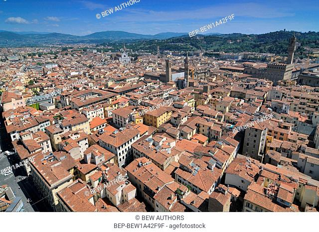 View from the roof of Florence Duomo to the streets below Florence Italy
