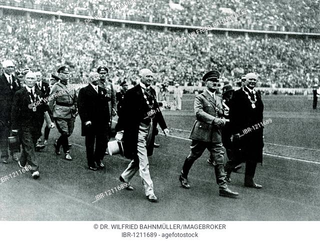 Olympic games 1936, entrance into the stadium, in the middle Adolf Hitler, right Staatssekretaer a.D. von Lewald, left the president of the Olympic Comitee...