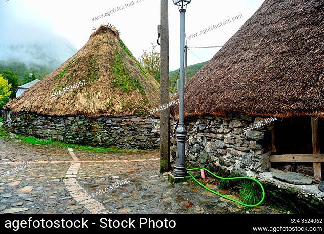Pallozas. Traditional building in Balouta, Ancares mountain range, Leon, Spain