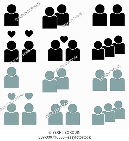 Human sociability set black and grey color Flat style