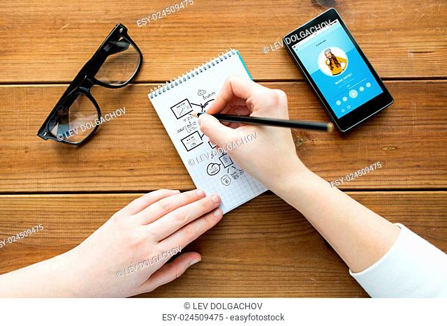 education, business and people concept - close up of woman or student drawing scheme in notepad with pencil and eyeglasses with music player on smartphone on...