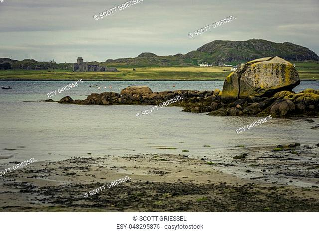 Iona Abbey seen from the Isle of Mull