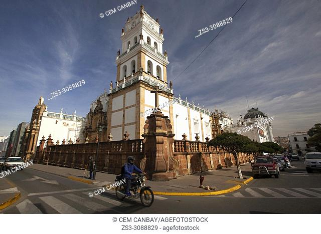 View to the Metropolitan Cathedral of Sucre-Catedral Metropolitana at the historic center, Sucre, Chuquisaca Department, Bolivia, South America