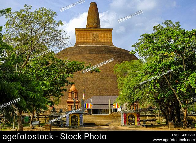 Anuradhapura, Sri Lanka - February 2020: The Buddhist stupa Abhayagiri Dagoba on February 6, 2020 in Anuradhapura, Sri Lanka