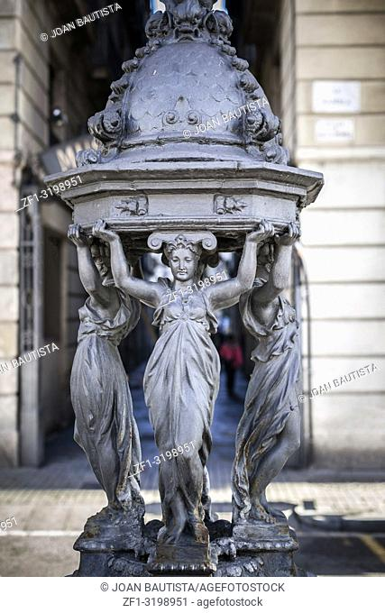 La rambla, fountain Wallace, by french sculptor Charles Lebourg, donated for 1888 Barcelona Universal Exposition