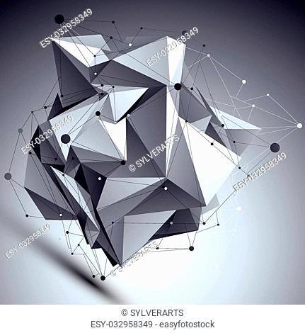 Geometric vector abstract 3D complicated lattice backdrop, asymmetric eps8 conceptual tech illustration with connected lines and dots
