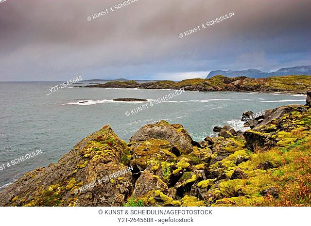 The open sea near Hamn on the western side of island Senja in northern Norway