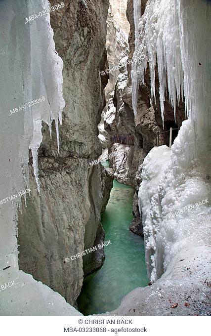 Germany, Bavaria, Werdenfels, Wetterstein mountains, Garmisch-Partenkirchen, Partnach, gorge Partnachklamm
