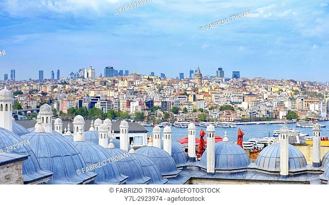 View of Istanbul from the Suleymaniye Mosque, Istanbul, Turkey