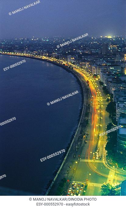 Aerial view of Marine Drive at night , Bombay Mumbai , Maharashtra , India