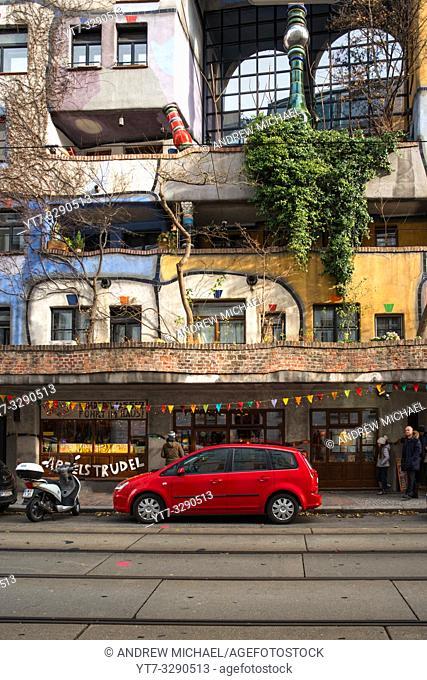 Hundertwasserhaus, expressionist landmark and public housing, designed by architect Friedenreich Hundertwasser in Vienna. Austria