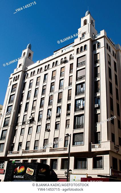 Art Deco building on Gran Via, Madrid, Spain