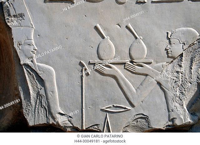 Karnak, Luxor, Egypt. Temple of Karnak sacred to god Amon: the king offers to god Amon