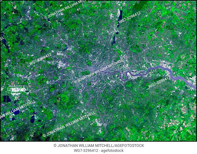 UK London -- 12 Oct 2002 -- This false-colour ASTER image shows a fantastic view of Britain's capital from just outside Windsor to Greenhithe in the east and...