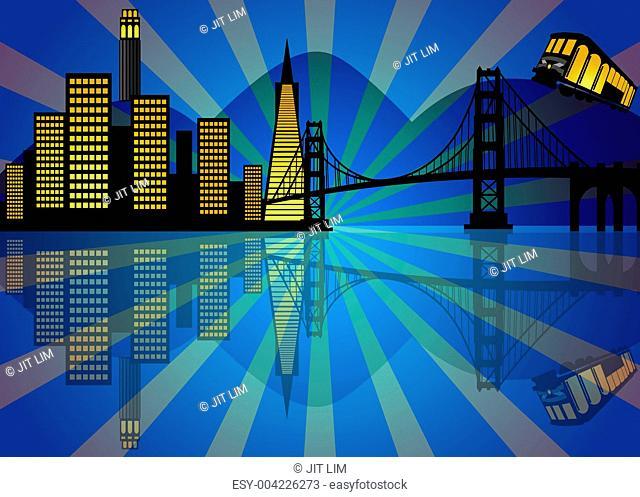 Reflection of San Francisco Skyline at Night