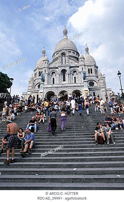 Tourists in front of the church Sacre Coeur Montmartre Paris France