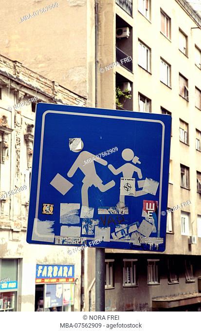 Sign, children, Belgrade, Serbia