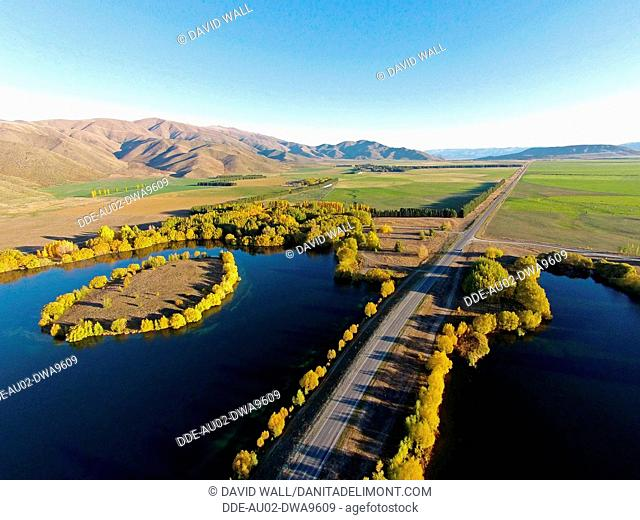 Wairepo Arm, State Highway 8, and Kellands Pond, Lake Ruataniwha, near Twizel, Mackenzie District, South Canterbury, South Island, New Zealand, drone aerial