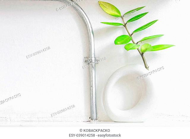 Tree in a pot with metal pipe on white lath wall