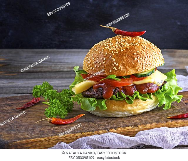 fresh homemade burger with lettuce, cheese, onion and tomato on a rustic wooden board on a dark background