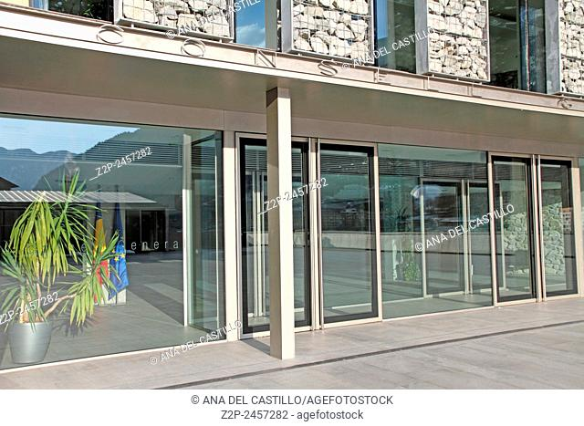 ANDORRA -FEBRUARY 23, 2013: Government building at Andorra la Vella on February 23, 2013 in Andorra Europe Pyrenees mountains