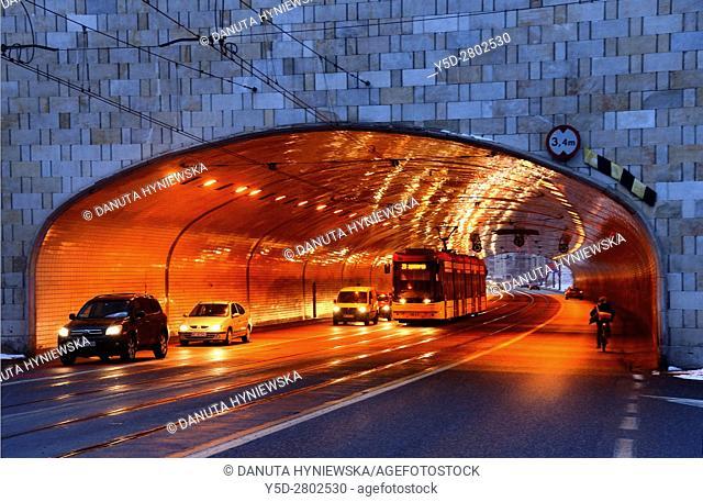 Aleja Solidarnosci - Solidarnosci Avenue passing tunnel, city center of Warsaw , Poland , Europe