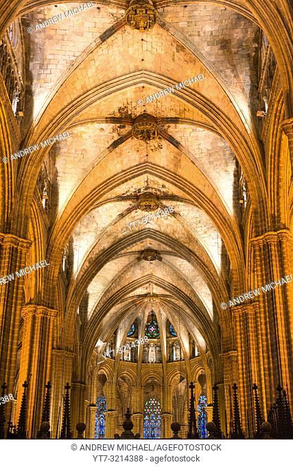 Interior view of Gothic church of Santa Maria del Mar, La Ribera, Barcelona, Catalonia, Spain, Europe