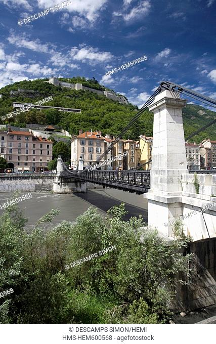France, Isere, Grenoble, St. Laurent Bridge over Isere River and Bastille site in the background