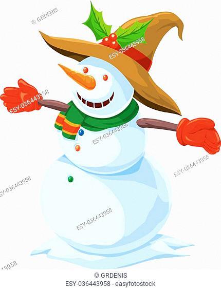 Christmas Snowman, vector illustration