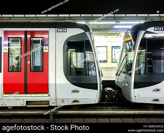 Rotterdam, Netherlands. Abandoned & Deserted RET Subway Station due to the Outbreak of Corona