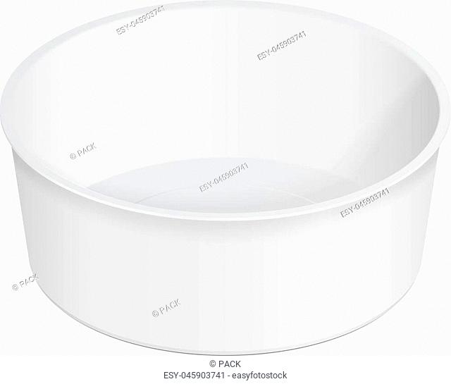 White Round Empty Blank Styrofoam Plastic Food Tray Container Box Opened, Cover. Illustration Isolated On White Background