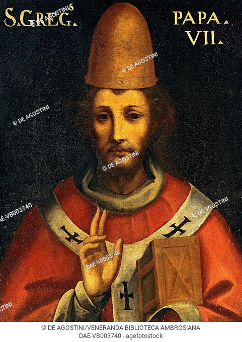 Portrait of Gregory VII, born Ildebrando Aldobrandeschi or Hildebrand of Sovana (Sovana, 1020/1025-Salerno, 1085), Pope from 1073